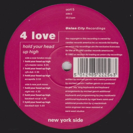 4 Love - Hold your head up high (CJ Mackintosh Master Remix / CJFX Dub / Night mix / Backlash Vocal mix / Backlash Dub / Acappel