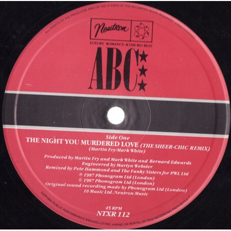 ABC - The night you murdered love (Sheer Chic Remix / The Reply) / Minneapolis (Tribute to Jimmy Jam & Terry Lewis)