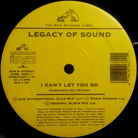 Legacy of Sound - I cant let you go (JJs International Club Mix / Radio Version / Original Album Version / Classic Club Mix / Vo