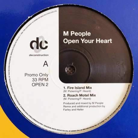 M People - Open your heart (Fire Island mix / Roach Motel mix / Check Yer Head mix / Mastermix) Promo