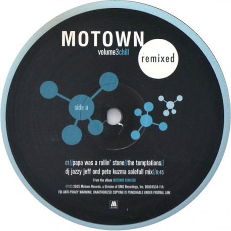 """Motown Remixed EP Volume 3 - 3 Track EP featuring The Temptations """"Papa was a rolling stone"""" (DJ Jazzy Jeff & Pete Kuzma Soleful"""