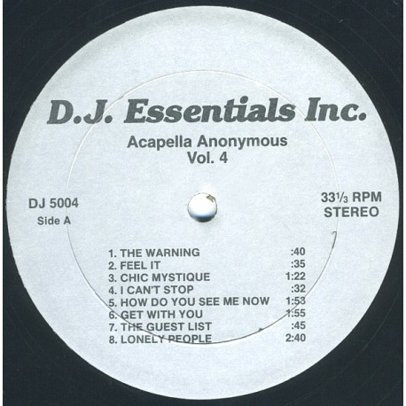"""Acappellas Anonymous Volume 4 - 14 Vocal Only cuts for DJs featuring Logic """"The warning"""" / Da Slammin Phrogs """"Feel it"""" / Chic """"C"""