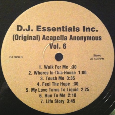 """Acappellas Anonymous Volume 6 - 14 Vocal Only cuts for DJs featuring Mariah Carey """"Emotions"""" / C&C Music Factory """"Keep it coming"""