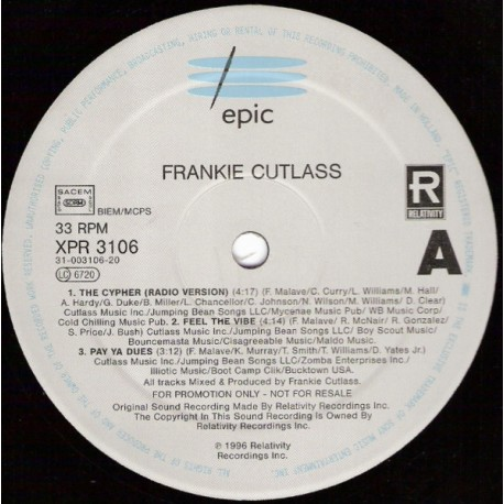 Frankie Cutlass - LP Sampler featuring The Cypher (Radio Version) / Feel the vibe / Pay ya dues / Focus / Know da game / Puerto