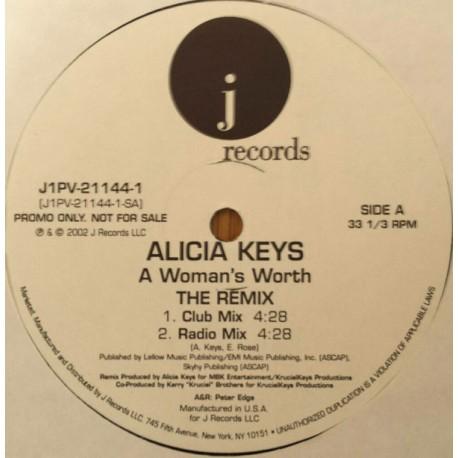 Alicia Keys - A womans worth (The Remix) Club mix / Radio mix / Instrumental / Acappella (Promo)