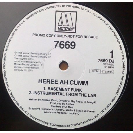 "7669 - Heree ah cumm (LP Version / Basement Funk mix / Instrumental) / So high (Beedies mix) 12"" Vinyl Record Promo"
